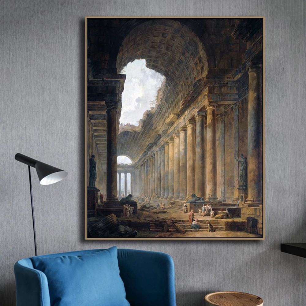Old Temple By Hubert Robert Classic Painting
