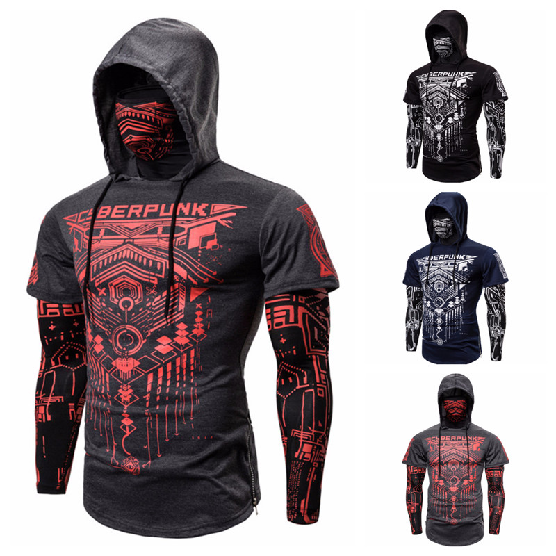 New Men Sweatshirt Hood Print Design Street Wear Pure Color Motorcycle Face Pullover Long Sleeve Hooded 3 COLORS