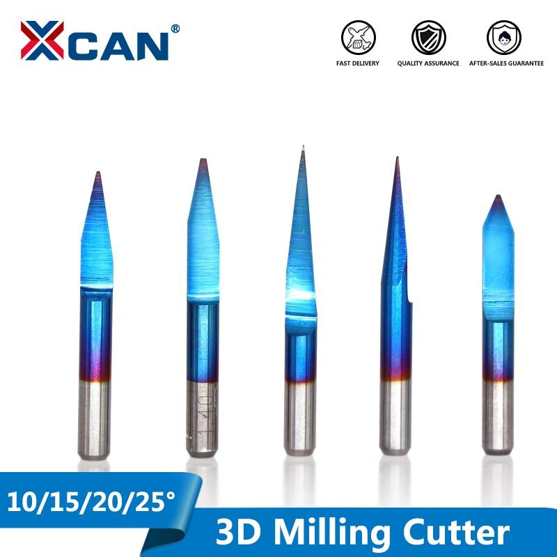 XCAN 10pcs 3.175mm Blue Coating PCB 3D Milling Cutter 10/15/20/25 Degrees Tungsten Carbide V Shape PCB Engraving Bit CNC Router