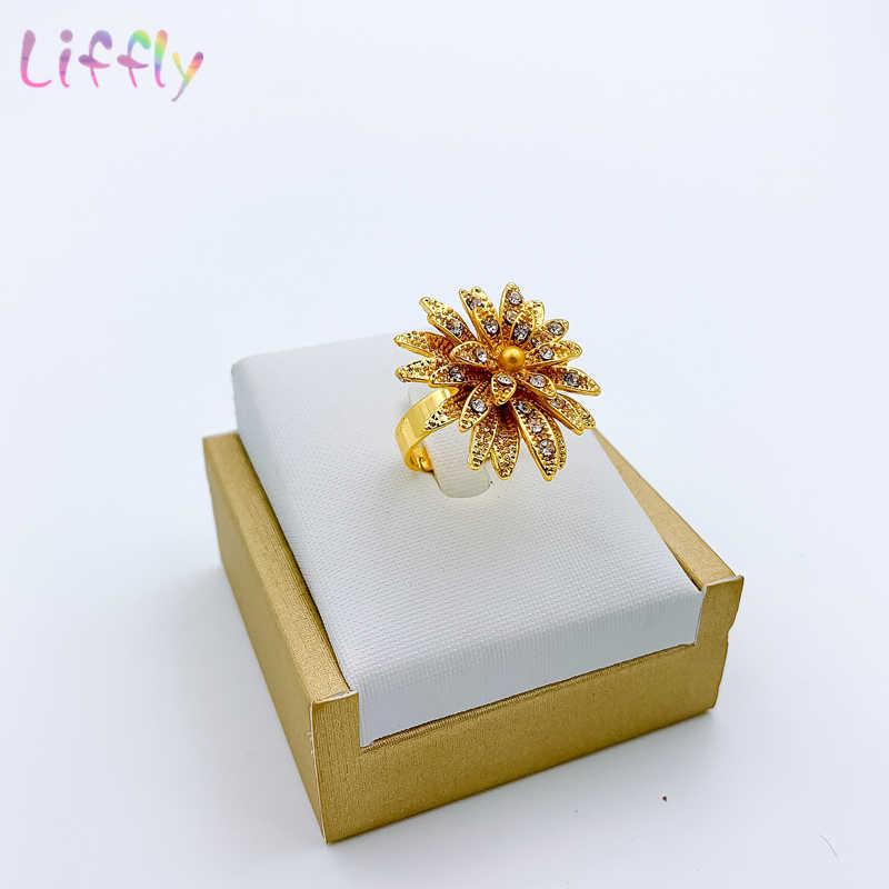 דובאי תכשיטים סטי שרשרת צמיד פרח צורת תליון עגילי טבעת קריסטל תכשיטי דובאי כלה תכשיטי חתונה