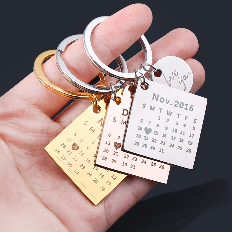 RJ Personalized Custom Calendar Keychain Pendant Baby Record Heart Shape Engrave Date Birthday Wedding Anniversary Jewelry