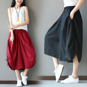 Four Seasons New Style Cotton Linen Printed Cropped Trousers Women's Ethnic-Style Large Size Elastic Waist Loose Pants