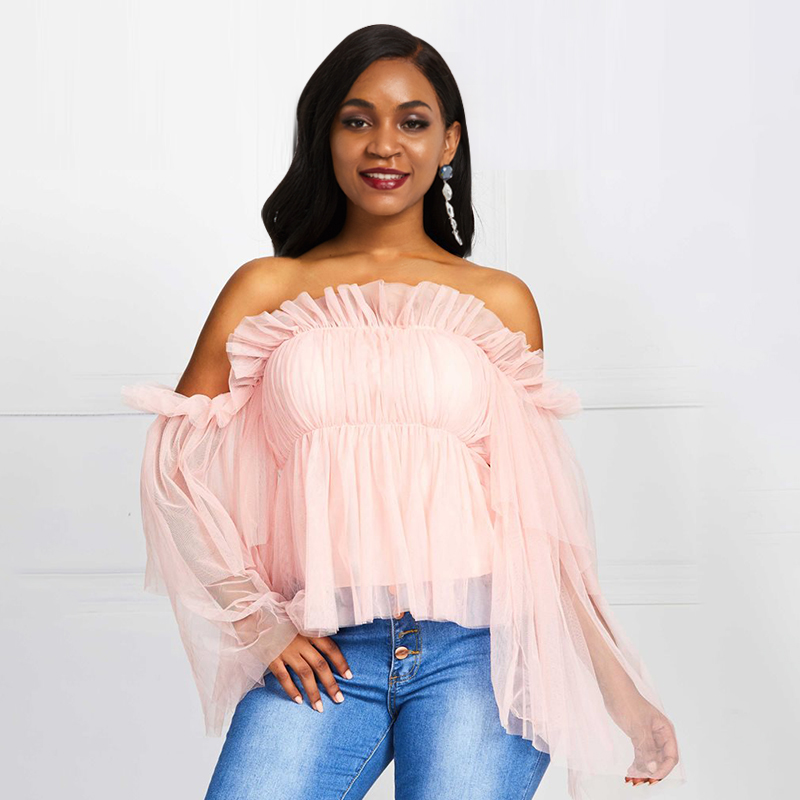 2019 Fall Off Shoulder Blouse Women Strapless Pink Ruffle Long Sleeve Falbala Backless Pleated Shirt Sexy Ladies Tops Vintage