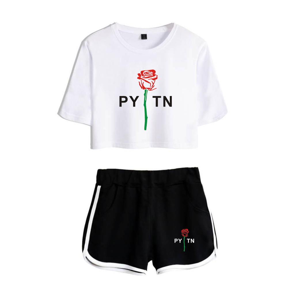 New Summer Payton Moormeier Exposed Navel White T Shirt+black Shorts Suitable Women Girls Two Piece Sets Crop Top Clothing