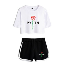 New Summer payton moormeier Exposed Navel white T shirt+black shorts Suitable women girls two Piece