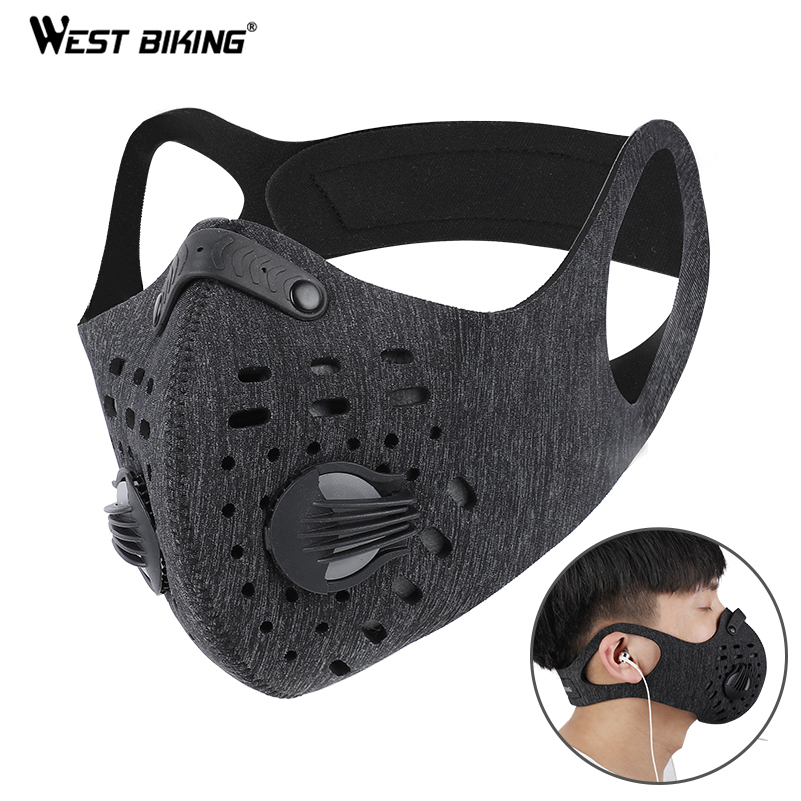WEST BIKING Dust proof Cycling Mask With Filter Activated Carbon Bike Face Mask Outdoor Mask PM2.5 Bicycle Face Shield|Cycling Face Mask| |  - title=