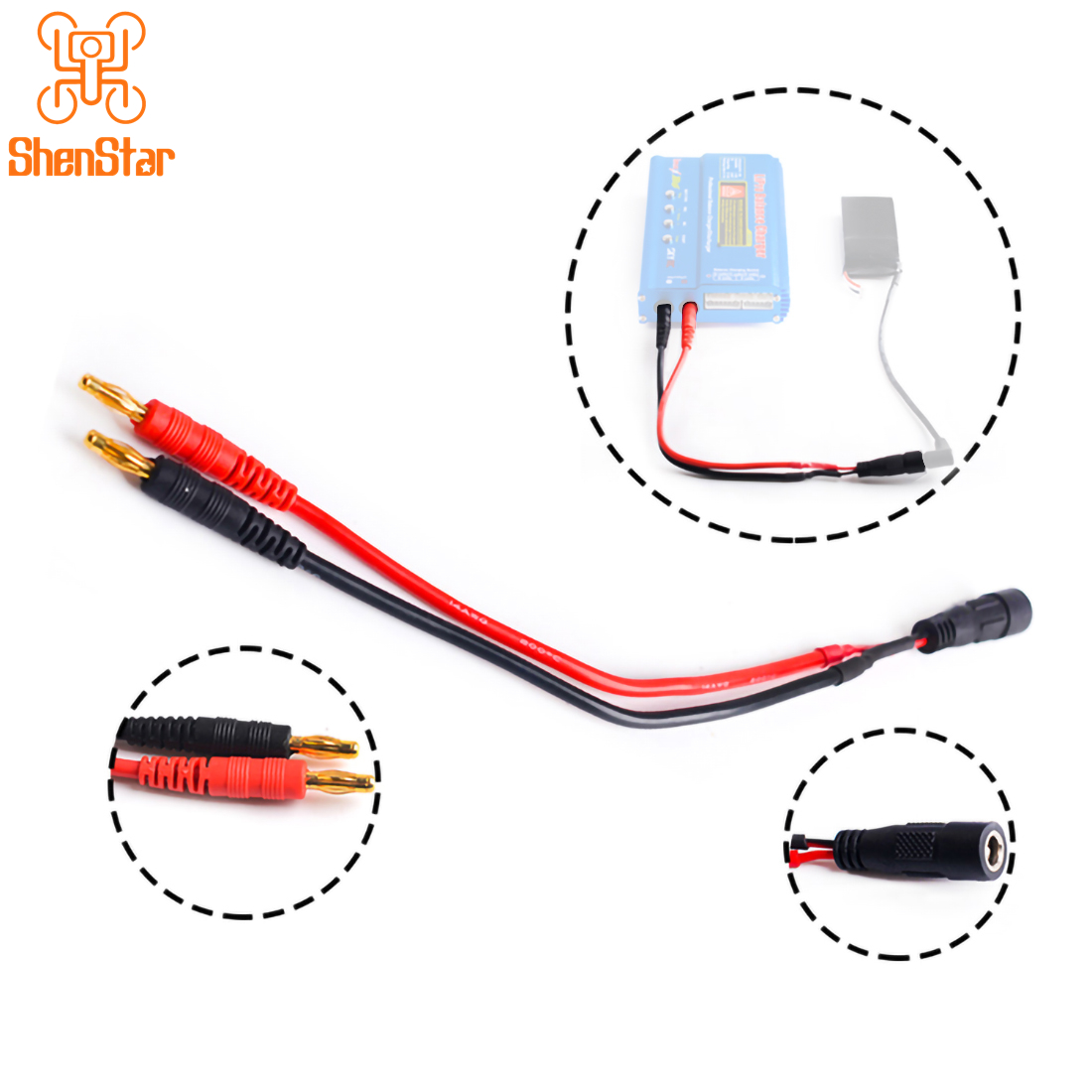 4.0mm Banana Head Transfer To Fatshark FPV Video Glasses Battery Connecting Cable For B6 Lipo Balance Charger Charging Line Wire