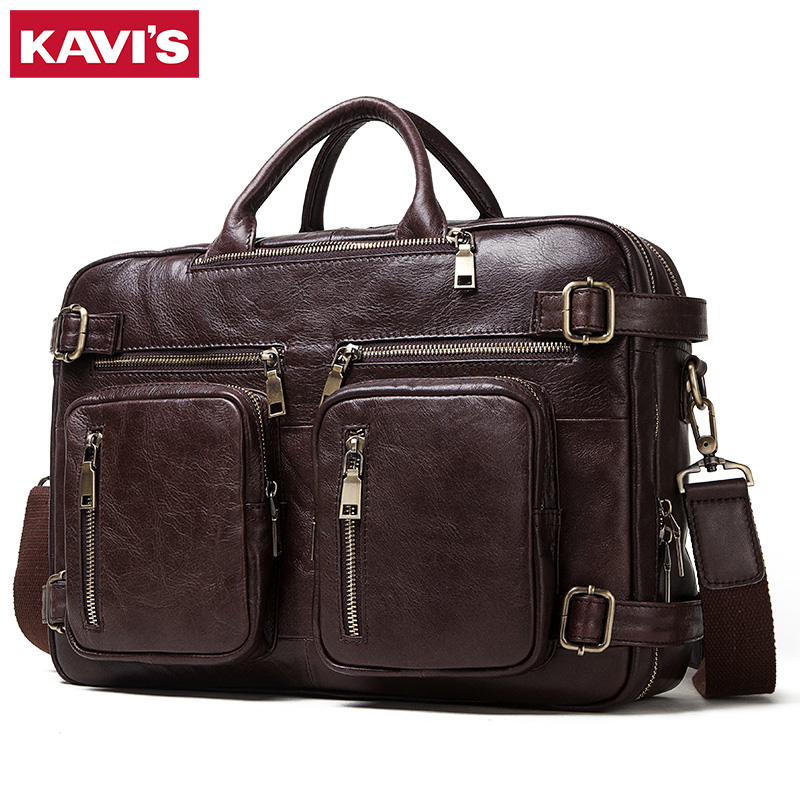 KAVIS New Men's Briefcase Messenger Bag Cow Leather Male Dual Function Laptop Bags Genuine Leather Bag Office Totes Quality