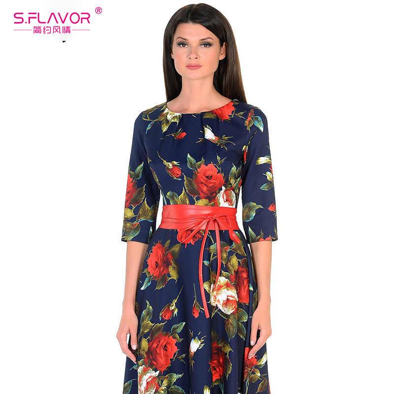 S. smaak 2020 Lente Slanke Plus Size Lange Jurk Elegante Vrouwen Gewaad Drie Kwart Mouw Gedrukt Jurk Maxi Party Vestidos