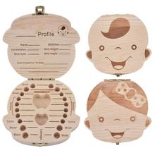 Organizer Tooth-Box Baby-Box Wood Milk-Teeth-Storage Save Teeth-Gifts Umbilica English