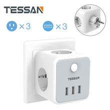 TESSAN EU Plug Socket EU Power Strip with 3 Outlets 3 USB Port On/Off Switch, 100-250V Power Socket Outlets Wall Charger Adapter