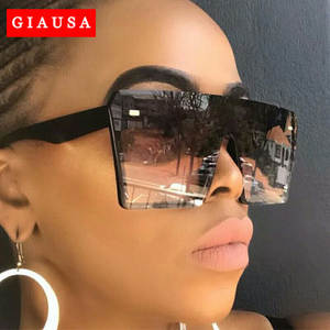 GIAUSA 2020 Oversized Square Sunglasses Women Luxury Brand Fashion Flat Top Black Clear Lens Men Gafas de sol Shade Mirror UV400