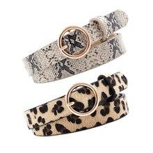 Золотой Круглый Пряжка Кожаный Ремень Леопардовый принт Змеиный ремни с узором для женщин женское платье джинсы пояс ceinture femme