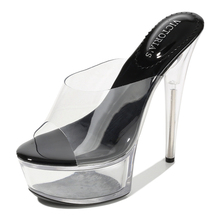 Fashion High Quality Slippers Sandals Women Shoes 15CM Thin Heels Wedding Model Catwalk Platforms Thick Bottom Shoes MS-A0076 women shoes female model t station catwalk sexy crystal transparent shoes 15cm high heels waterproof head fish head sandals