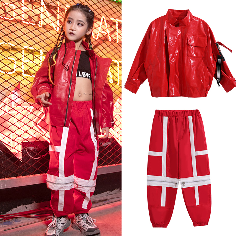 Children Jazz Dance Costumes For Girls Street Dance Set Hip Hop Clothing Red Leather Jacket Hiphop Pants Rave Clothes SL2008