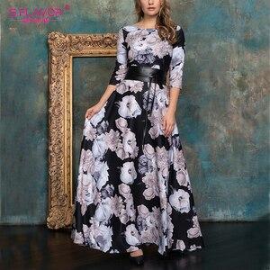 S.FLAVOR Women Elegant O Neck Long Dress Vintage Floral Printing Winter Fashion Casual Maxi Dress NO BELT Boho Party Vestidos De