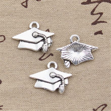12 pçs encantos graduação bacharel boné 20x25mm antigo prata cor pingentes diycrafts fazendo encontrar artesanal tibetano jóias