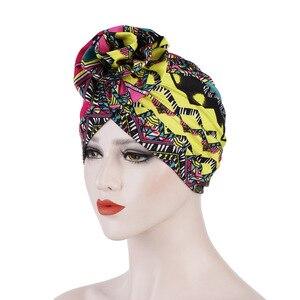 Image 5 - Helisopus Cotton Ladies Printed Headbands Chemo Cap Elastic Headscarf Women Muslim Turban Beanies Hair Accessories