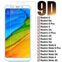 Vetro temperato 9D per Xiaomi Redmi 5 Plus 5A 6 6A S2 4X pellicola protettiva per schermo intero Redmi Note 6 5 5A 4 4X Pro pellicola protettiva in vetro