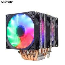 Ryzen radiator 6 heatpipe dual tower cooling 9cm fan support 3 fans 4pin PWM CPU cooler AM3 AM4 FM2 775 115X 1366 cpu radiator