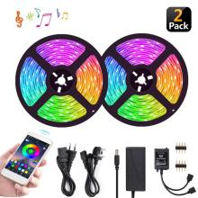 Multifuntion LED 5050 RGB Strip Light 10M(32.8Ft) UL 12V Adapter Flexible Music Smart Tape Lights With Phone APP Controller