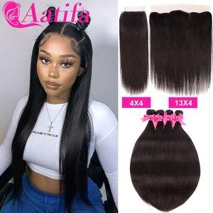 Image 1 - Peruwiańskie proste włosy 3 zestawy z 4*4/13*4 zamknięcie Frontal z wiązkami 100% Remy ludzkie włosy splot wiązki dla czarnych kobiet