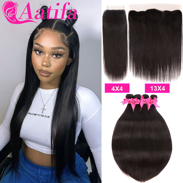 Peruwiańskie proste włosy 3 zestawy z 4*4/13*4 zamknięcie Frontal z wiązkami 100% Remy ludzkie włosy splot wiązki dla czarnych kobiet
