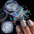 Голографическая бабочка в форме сердца ногтей искусство блестки микро Лазерная Звезда хлопья 3D цвет серебристый, Золотой Блестки для ногте...