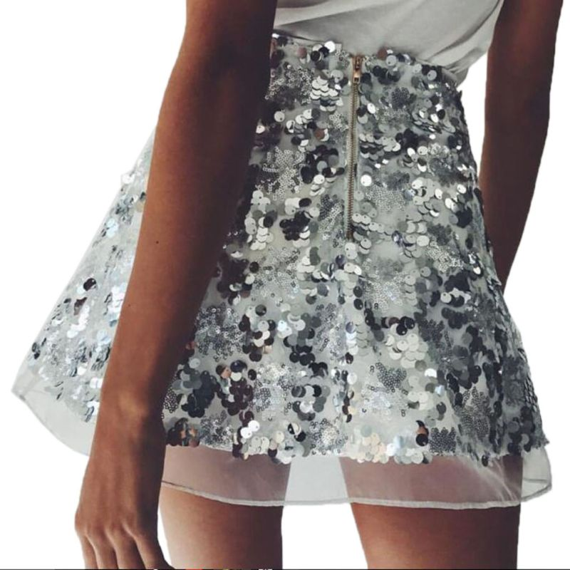 Women Fashion <font><b>Rose</b></font> <font><b>Gold</b></font> Sexy Short Sequined <font><b>Skirt</b></font> Lace Club Mini Vintage A Line M7DD image