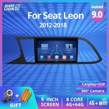 Autoradio Android 9.0, 4 go/64 go, Navigation GPS, RDS, DSP, lecteur Dvd, vidéo, multimédia, 2 Din, pour voiture Seat Leon 3 (2012 – 2018)
