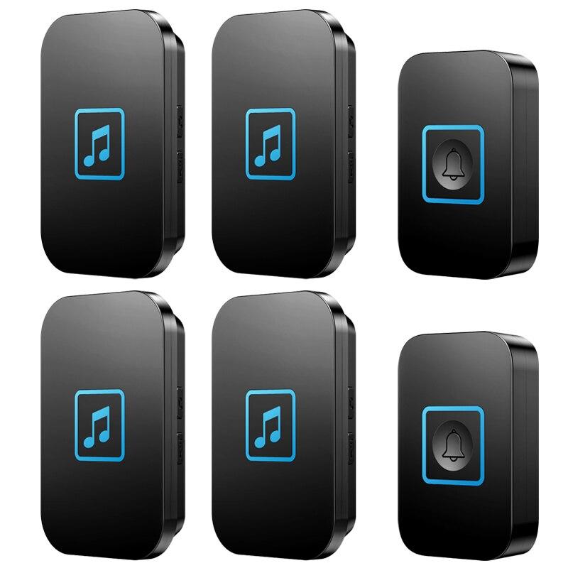 CACAZI Welcome Wireless Doorbell Waterproof Smart Cordless Bell 2 Transmitter 4 Receivers Volume 0-110dB 60 Chimes US EU UK Plug