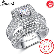 LMNZB 2pcs/set Original Jewelry 925 Sterling Silver Rings Set Full CZ Crystal Wedding Rings For Women Fashion Finger Rings KR149(China)