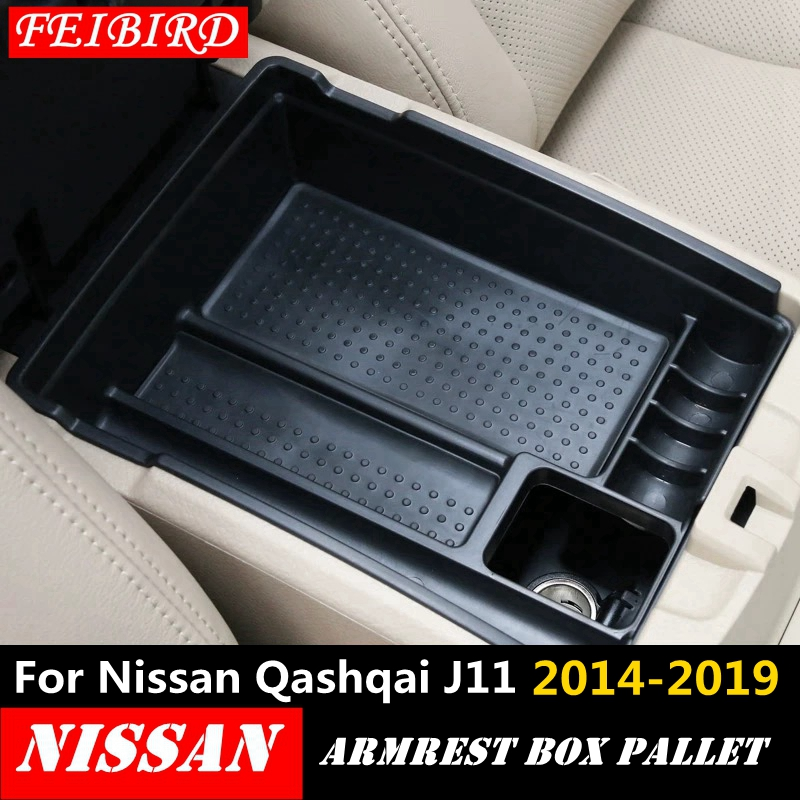 Central Console Armrest Box Secondary Multifunction Storage Box Phone Holders Tray <font><b>Accessory</b></font> For <font><b>Nissan</b></font> <font><b>Qashqai</b></font> J11 2014 - 2019 image