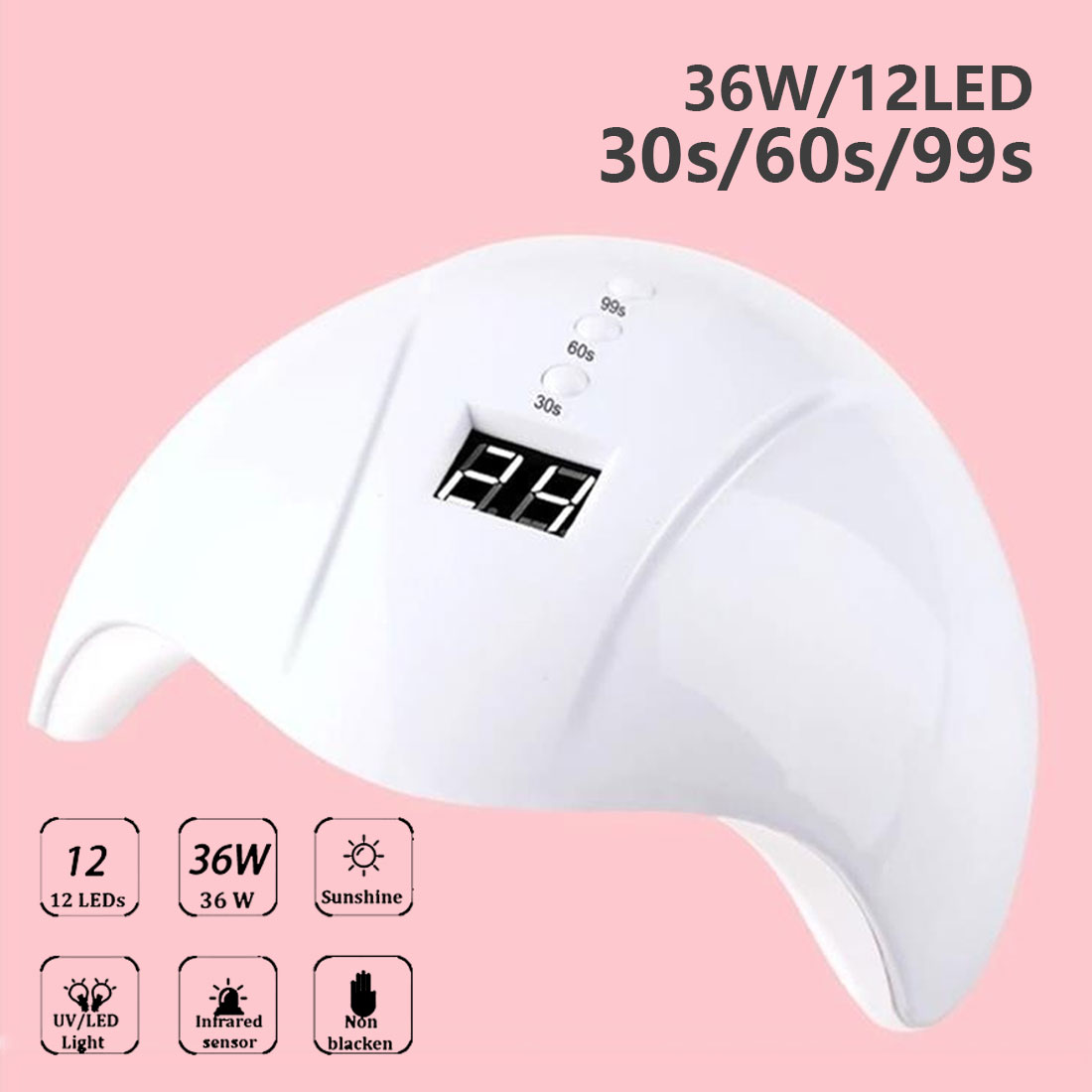 36/6W Nail Dryer For Nail Machine Curing 30s/60s/99s Timer For Nail LED UV Lamp For All Gels 12/3 Leds UV Lamp USB Connector