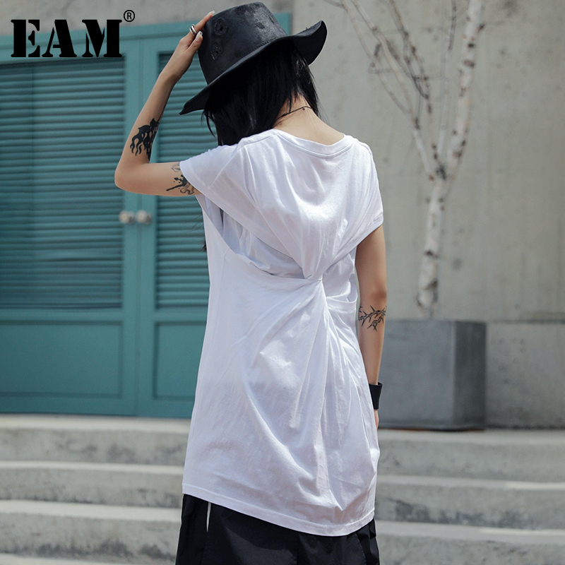 [EAM] Women White Back Knot Split Joint Long T-shirt New Round Neck Short Sleeve  Fashion Tide  Spring Summer 2020 JU435 1