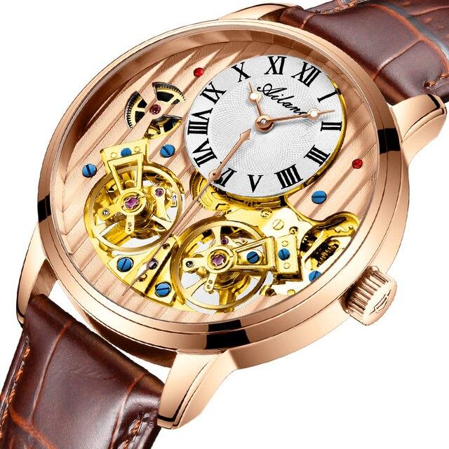 AILANG AAA جودة ساعة مكلفة مزدوجة توربيون سويسرا الساعات أفضل العلامة التجارية الفاخرة الرجال التلقائي ساعة ميكانيكية الرجال 2
