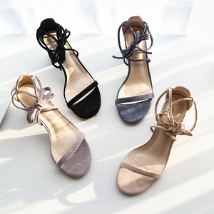 Image 2 - 여성 샌들 2020 여름 신발 여성 6.5/4CM 스퀘어 하이힐 솔리드 가짜 스웨이드 플록 발목 워프 슬리퍼 레이디 웨딩 샌들