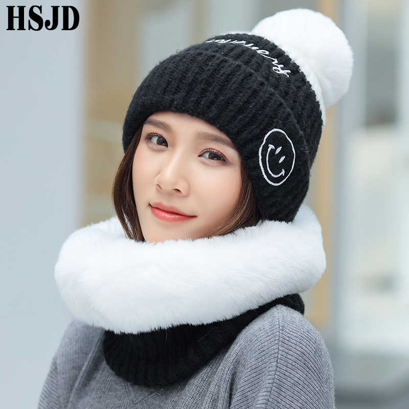 Chapéus de malha de inverno feminino com lenço de pelúcia de vison 2 peças conjunto gola grossa gorros quentes chapéu sorriso bonés proteger o pescoço boné feminino