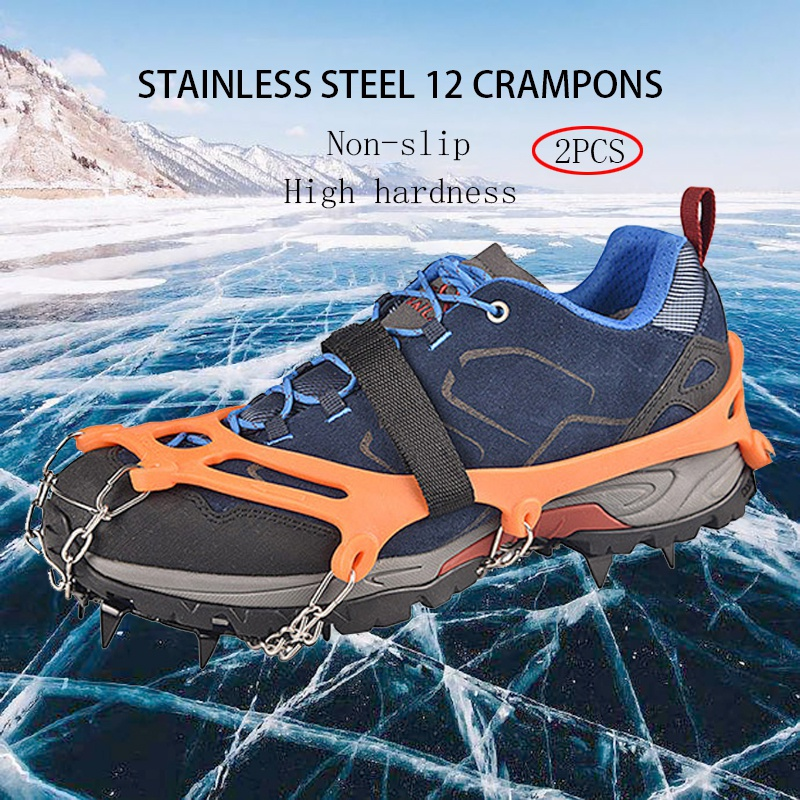 Ice Cleats Crampons Traction Snow Grips For Boots Shoes Anti Slip 12-Spikes Safe Protect For Hiking Climbing Mountaineering