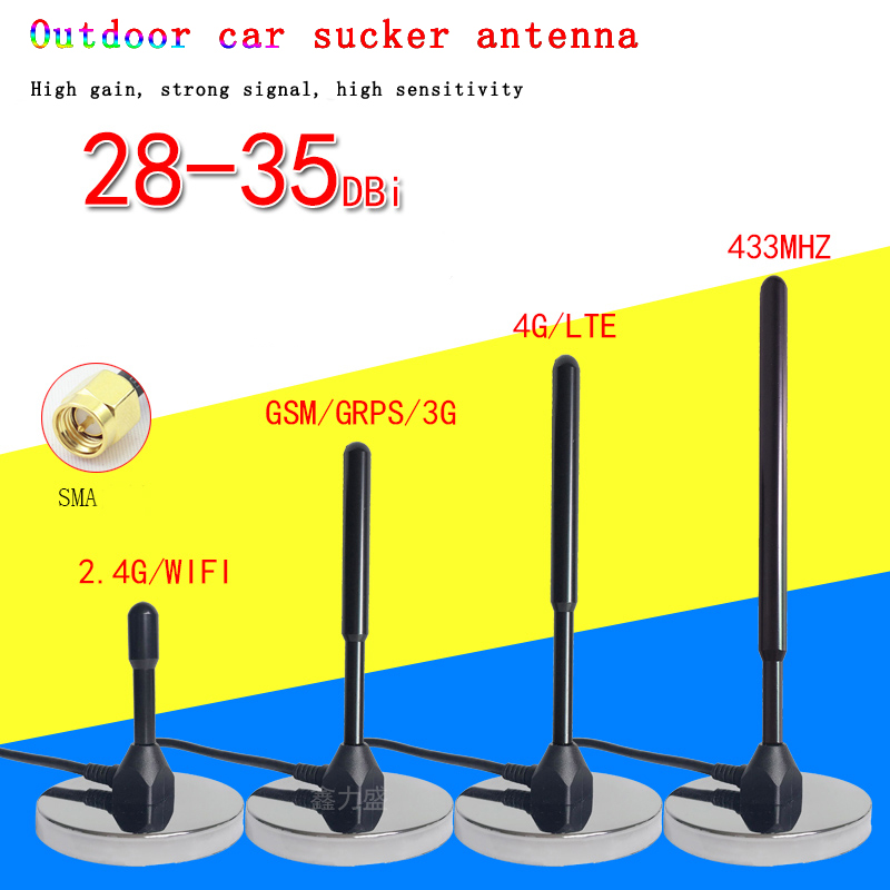 Suction Antenna 4g 3g 2g Gsm Gprs 433mhz 2.4g Wifi Ourside Car Radio Antenna 3m Cable High Gain 35dbi Sma Male Connector