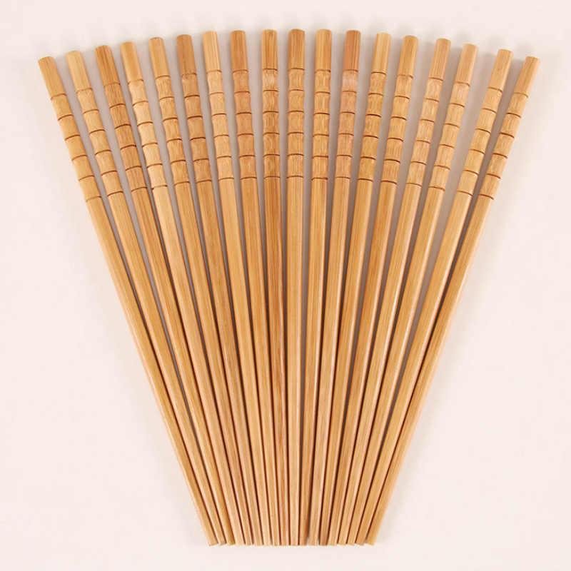 PURE คู่มือไม้ไผ่ธรรมชาติไม้ตะเกียบสุขภาพจีน Carbonization Chop Sticks Reusable Hashi ซูชิอาหาร Stick บนโต๊ะอาหาร @ 1