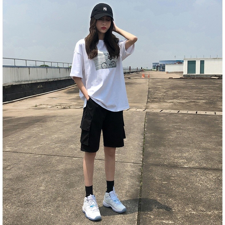 Workwear Shorts Female Summer Students Loose Straight Casual Pants High Waist Cool Handsome Harbor Wind Ins Sport Five-point Pan
