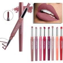 Профессиональный макияж, двойной карандаш Liplipstick, водостойкий стойкий оттенок, сексуальные красные губы, бархат, матовая подводка, ручка, помада, набор