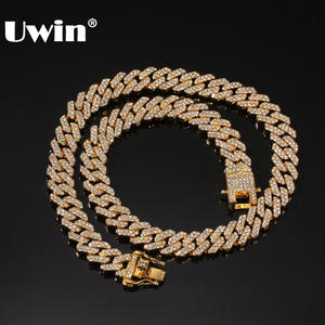 UWIN Miami Cuban Necklaces Fashion Jewelry Rhinestones Hiphop S-Link Men 12mm Paved Iced