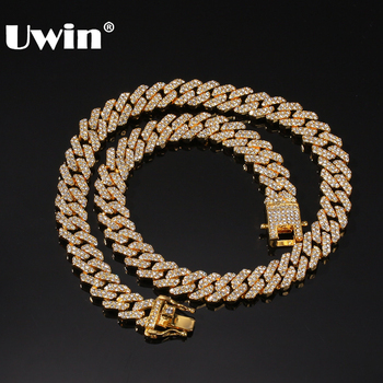 UWIN Micro Paved 12mm S-Link Miami Cuban Necklaces Hiphop Mens Iced Rhinestones Fashion Jewelry Drop Shipping
