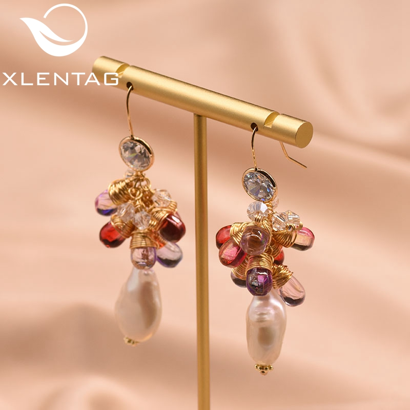 XlentAg Original Design Natural Baroque Pearl Earrings For Women Lovers' Korean Wedding Party Jewellery Orecchini Donna GE0840