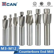 Xcan 7 個hssザグリエンドミルM3.2 M12.4 パイロットスロッティング工具カッター皿エンドミル