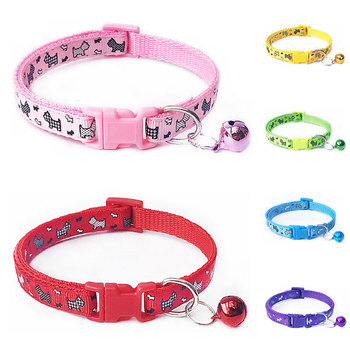 1pc Cat Dog Collar with Bell Cartoon Print Neck Strap Polyester Adjustable Buckle Neck Strap for Small Cat Dog Cute Pet Collar image