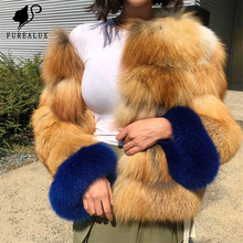 New Arrival Real Red Fox Fur Coats Short Women Whole Skin Full Pelt Natural Blue Sleeve Round Collar Luxury Winter Thick