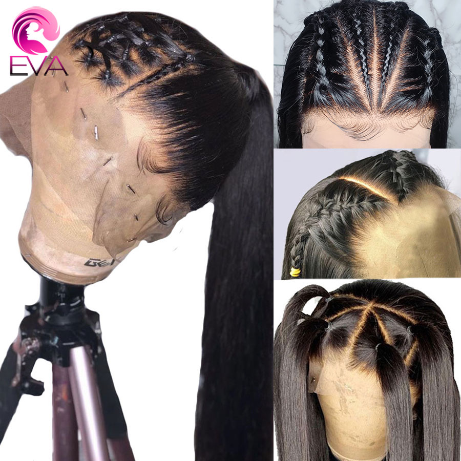 Eva Fake Scalp 370 Lace Frontal Human Hair Wigs Pre Plucked With Baby Hair Straight Brazilian